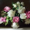 Розовые и белые пионы на тёмном фоне