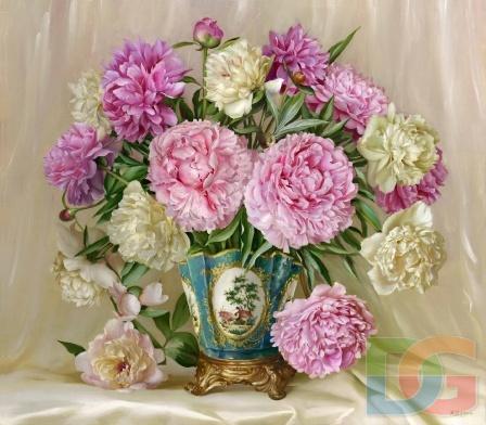 Розовые и белые пионы
