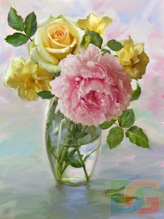 """"""" Пион и розы"""""""